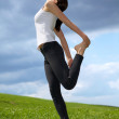 Young woman exercising in park - Stock Photo