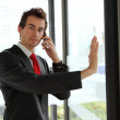 Young caucasian businessman at office revolving door with cellphone — Foto de Stock