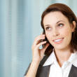 Portrait of young caucasian businesswoman talking on cellphone — Stock Photo #3838847