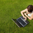 Stock Photo: Elevated view of businesswomusing laptop