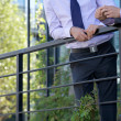 Stock Photo: Businessmen standing by railing