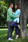 View of young couple looking at each other — Stock Photo
