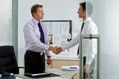 Two businessman shaking hands at office — Stock Photo