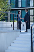 Businessman and woman shaking hands outside building — Stock Photo