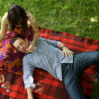 Stock Photo: Elevated view of young couple relaxing on sheet in park