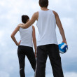 Young couple exercising in park — Stock Photo #3844717