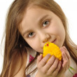 Girl with the Easter chick — Stock Photo