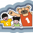 The funny bear with children. — Stock Vector