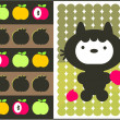 Kawaii cat with apples pattern. — Stock Vector
