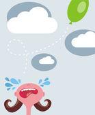 Crying girl, flying balloon. — Stock Vector