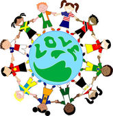 Kids Flag Shirts Love Globe — Stock Vector