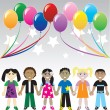 Royalty-Free Stock Vector Image: Kids Balloons Stars