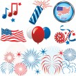 july 4th icons — Stock Vector
