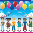 Balloon Background with Kids — Imagen vectorial