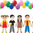 Royalty-Free Stock Vector Image: Balloon Kids