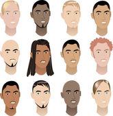 Mens Faces 3 — Stock Vector