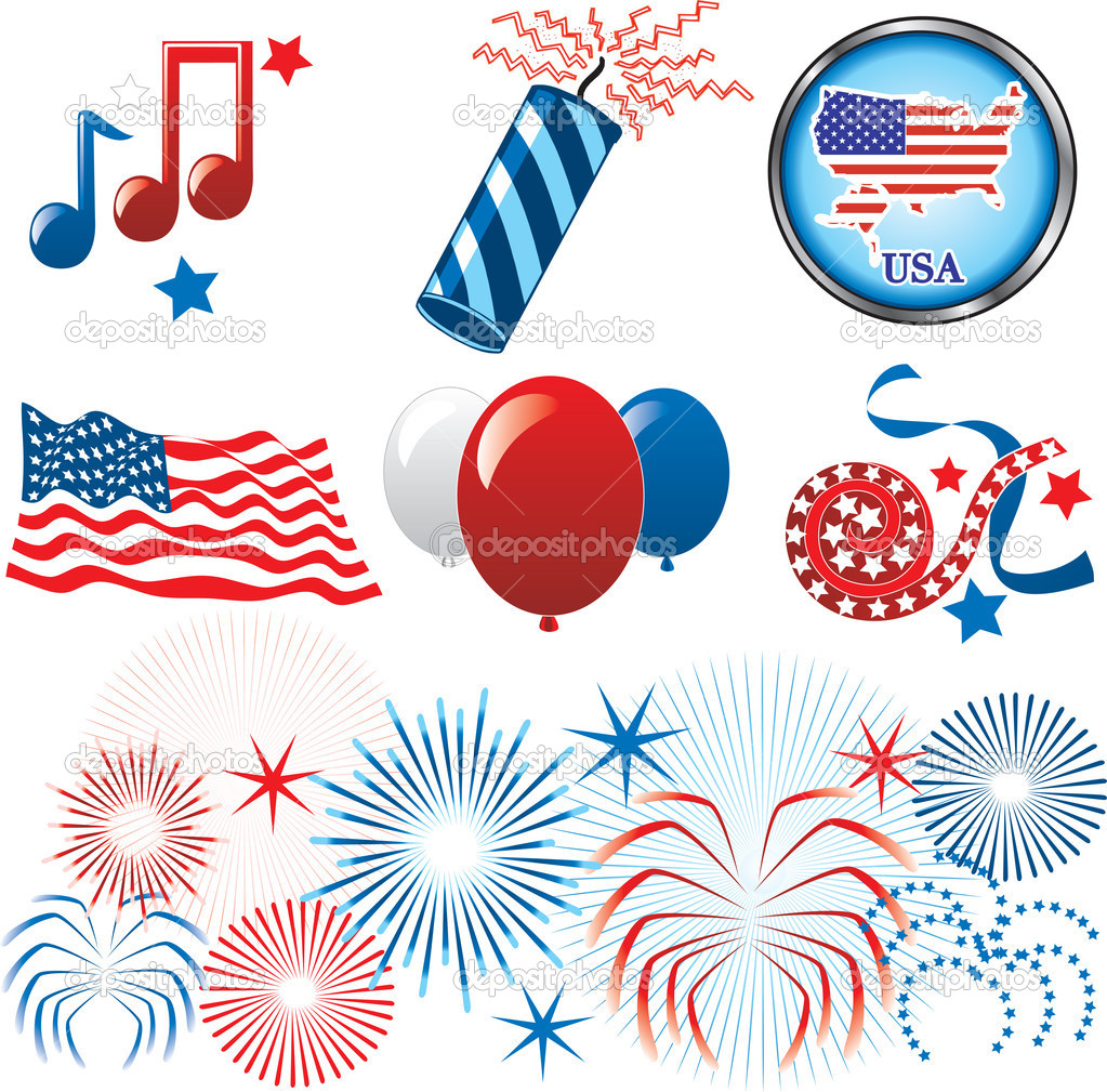 Vector Illustration for the 4th of July Independence. Set of Icons and Buttons. — Stock Vector #3318549