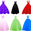 Formal Gown Dress Icons - Stok Vektör