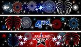 4 de julho banners de fogo de artifício — Vetorial Stock