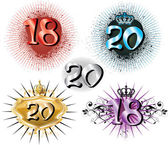 18th Birthday or 20th Anniversary — Stock Vector