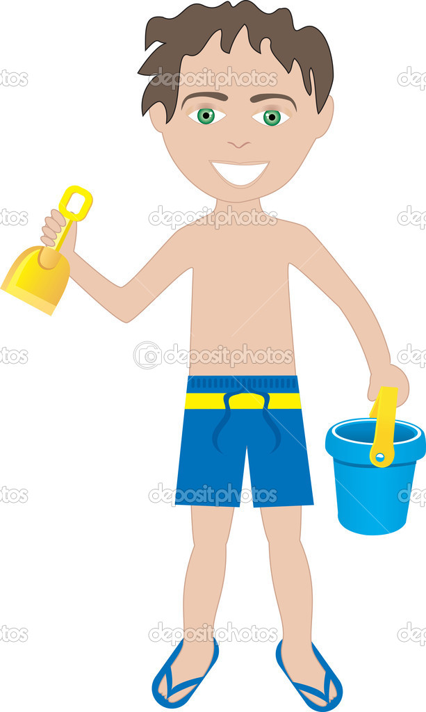 Brunette Boy Swimsuit — Stock Vector © BasheeraDesigns ...