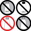 No Salt Sign - Stock Vector