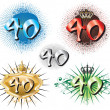 40th Birthday or Anniversary — Stock Vector