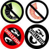 No Shellfish Sign — Vector de stock