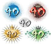 40th Birthday or Anniversary — Stock Vector