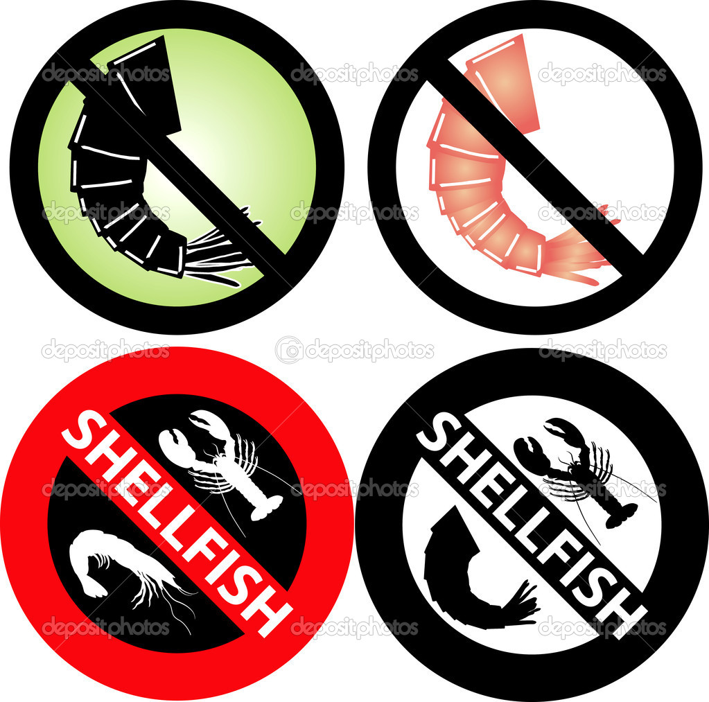 Vector Illustration of four No Shellfish Signs. See my others in this series.  Stock Vector #3718523