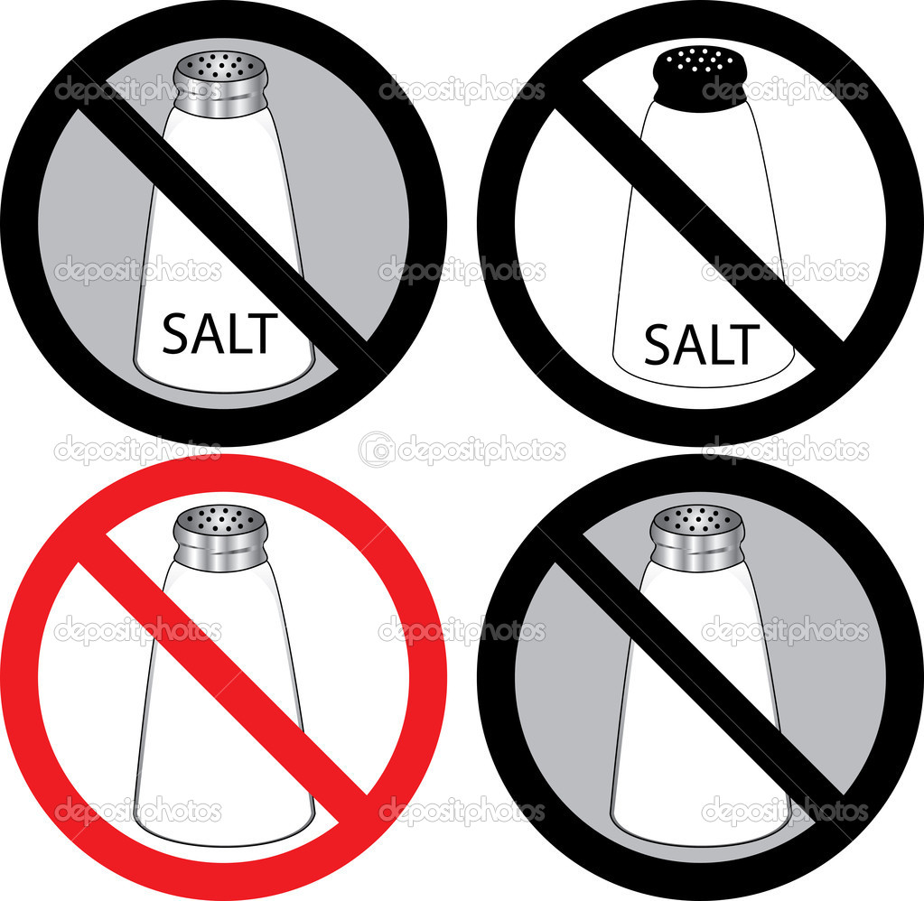 Vector Illustration of four no salt signs.  — Stock Vector #3718532