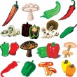 Mushrooms and Peppers — Imagen vectorial