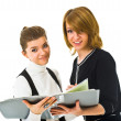 Stock Photo: Young business women with book