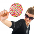 Stock Photo: Young womwith lollipop