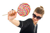Young woman with a lollipop — Stock Photo