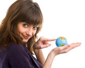 Woman holds the globe in hands — Stock Photo