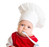 Baby in de cook-kostuum — Stockfoto