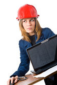 Young engineer with notebook — Stock Photo
