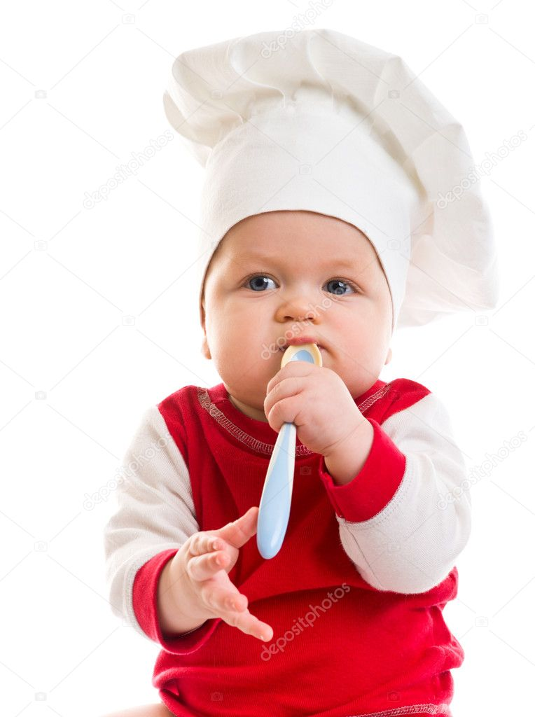 Little boy in the cook costume on white background — Stock Photo #2759457