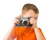 Little boy with photo camera — Stock Photo