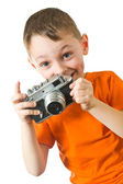 Child trying to shoots photos — Stock Photo