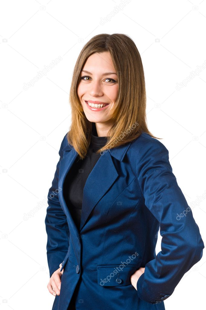Portrait of a successful business woman smiling over white background  — Stock Photo #2832647