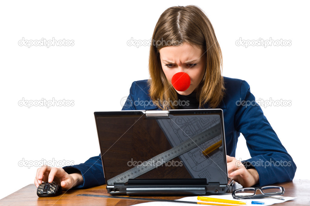 Business woman with clown nose and laptop  — Stock Photo #2832735