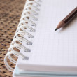 Spiral bound notebook with pencil — Stock Photo
