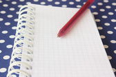 Spiral bound notebook with red pen — Stock Photo