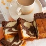 Cake with milk coffee — Stock Photo #2822338