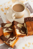 Cake with milk coffee — Stock Photo