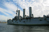 Cruiser the Aurora in Petersburg. — 图库照片