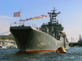 The military ship on parade. — 图库照片
