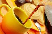 Orange coffee service. — Stock Photo